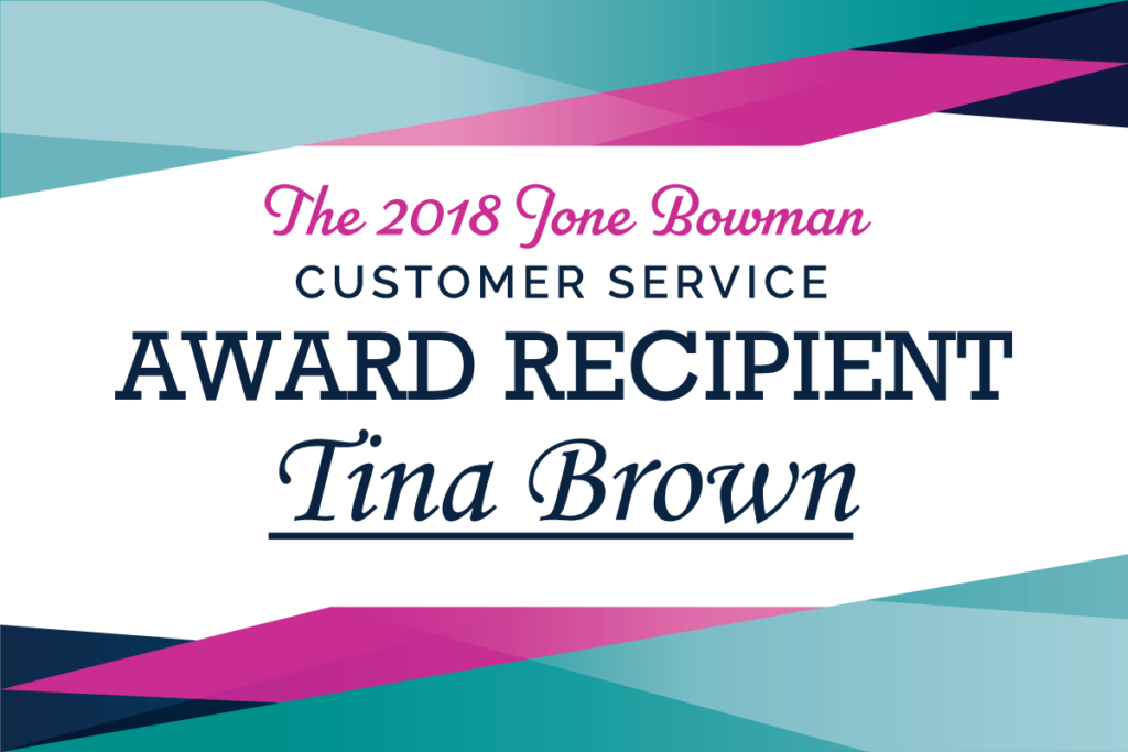 2018 Jone Bowman Award Recipient